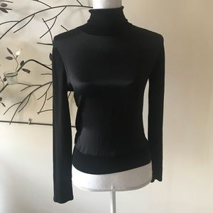 Elie Tahari Silk and Wool Black Turtleneck Sweater